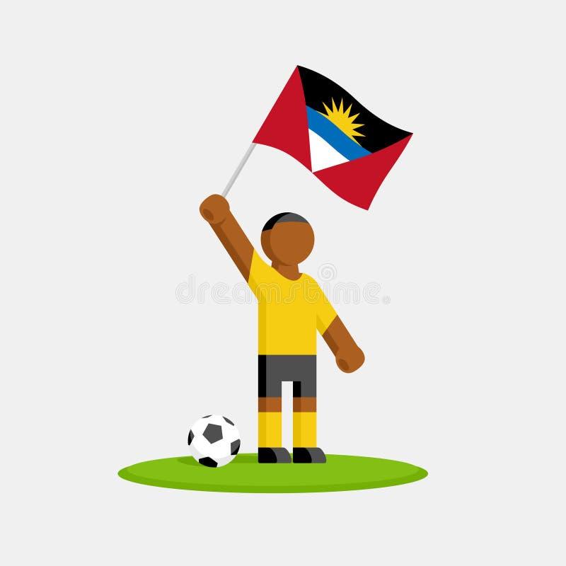 Footballeur dans le kit avec le drapeau d'Antigua et de Barbuda illustration libre de droits