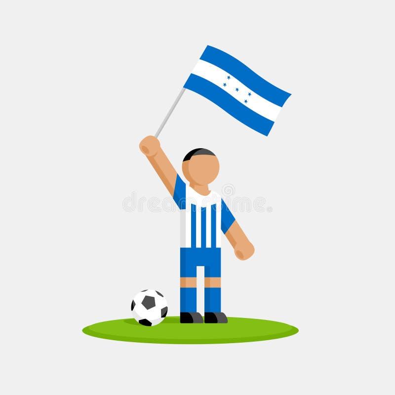 Footballeur du Honduras dans le kit avec le drapeau illustration stock