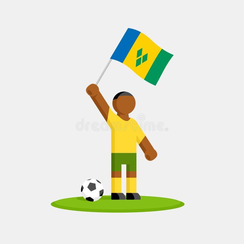 Footballeur du Saint-Vincent-et-les Grenadines dans le kit avec le drapeau illustration stock