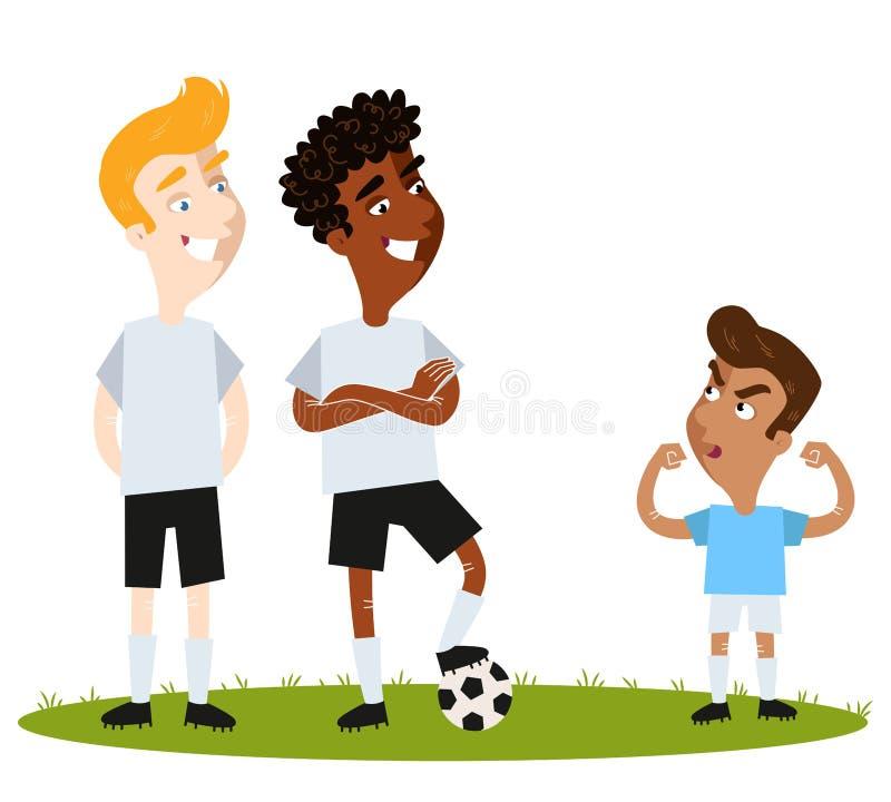 Footballeur sud-américain court plein d'assurance de bande dessinée dans la chemise bleue essayant d'intimider les adversaires gr illustration de vecteur