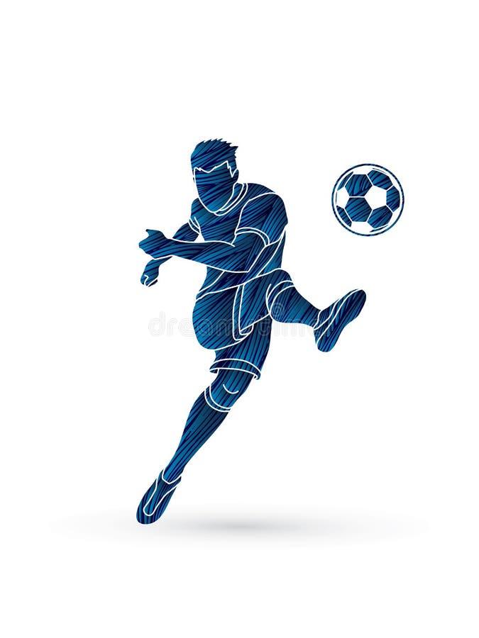 Footballeur tirant un vecteur de graphique d'action de boule illustration libre de droits