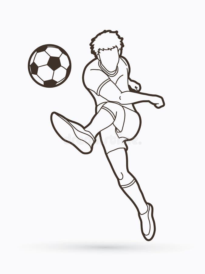 Footballeur tirant une boule illustration libre de droits