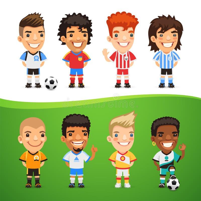 Footballeurs internationaux de bande dessinée réglés illustration de vecteur