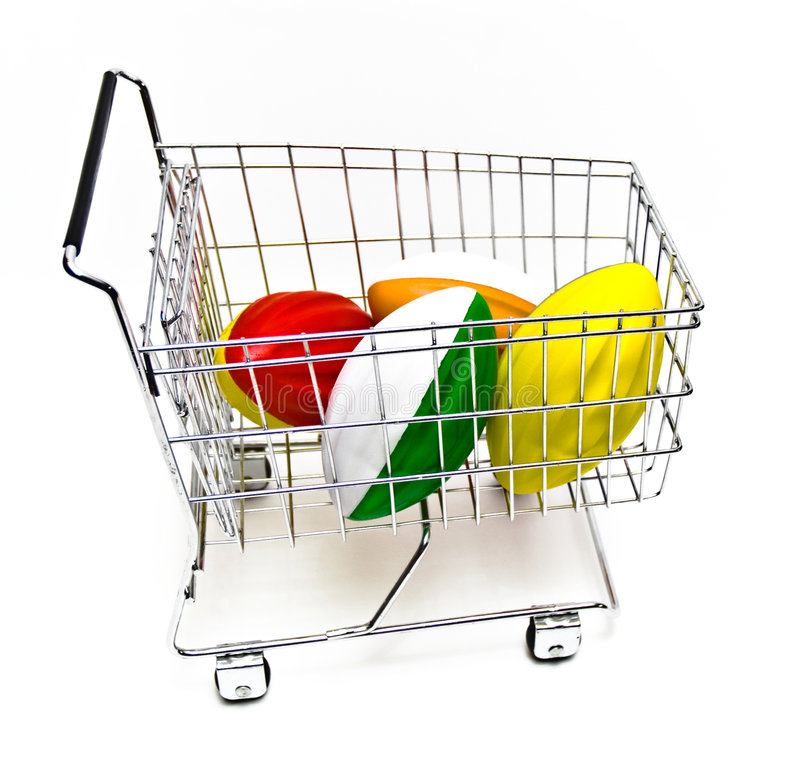 Footballs in Cart royalty free stock image