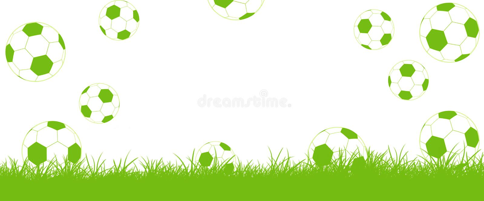 Footballs fly on lawn, Goal!. Background with free text for football Championship royalty free illustration