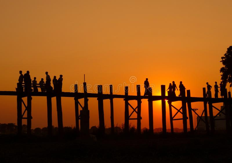 Footbridge Бирмы стоковые фото