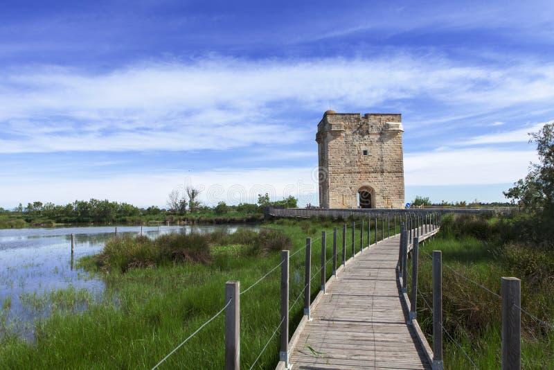 Footbridge и башня стоковые изображения