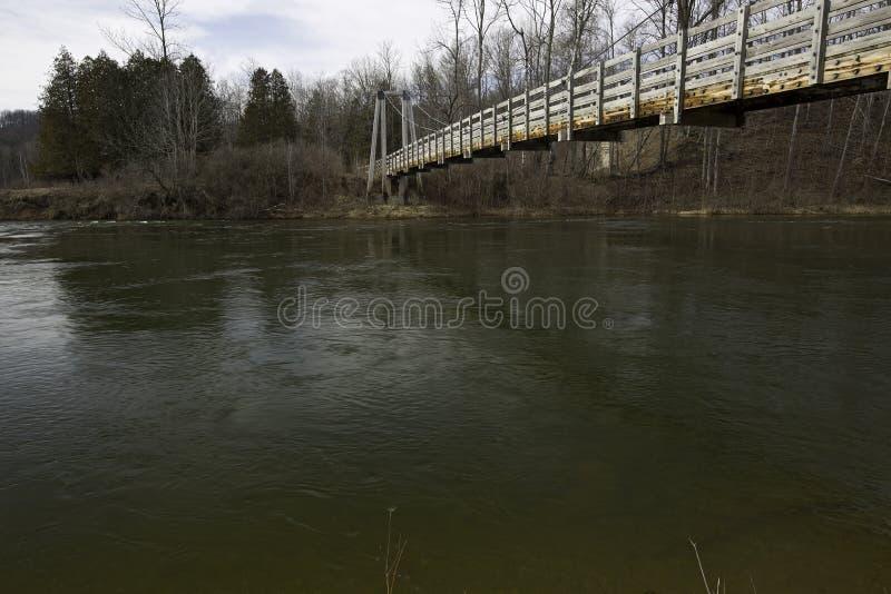 Footbridge реки Manistee стоковое фото