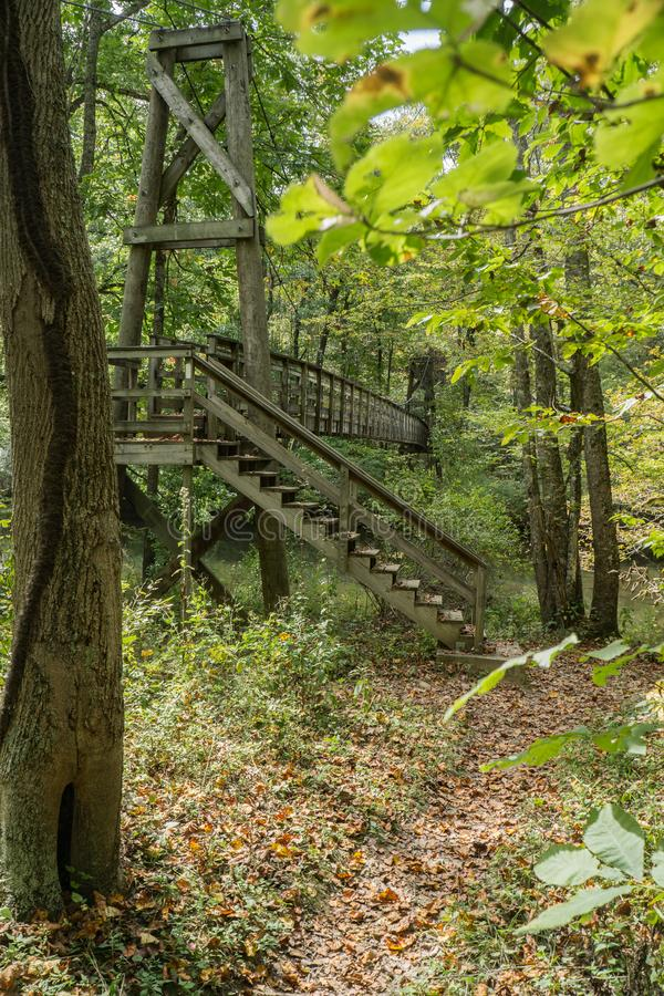 Footbridge on the Appalachian Trail. A wooden footbridge over Dismal Creek for hikers on the Appalachian Trail located in Giles County in Southwest Virginia royalty free stock photo
