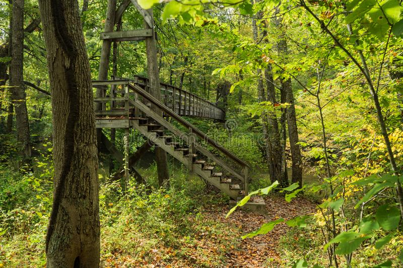Footbridge on the Appalachian Trail. A wooden footbridge over Dismal Creek for hikers on the Appalachian Trail located in Giles County in Southwest Virginia royalty free stock image