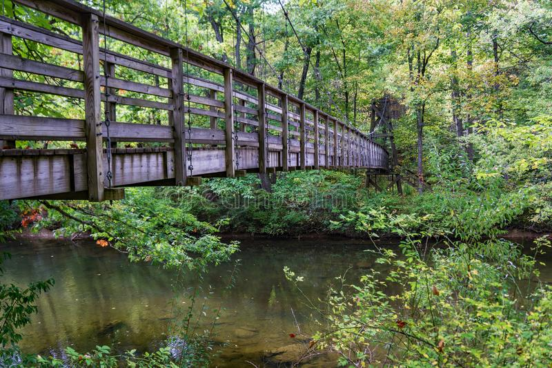 Footbridge on the Appalachian Trail. A wooden footbridge over Dismal Creek for hikers on the Appalachian Trail located in Giles County in Southwest Virginia royalty free stock photos