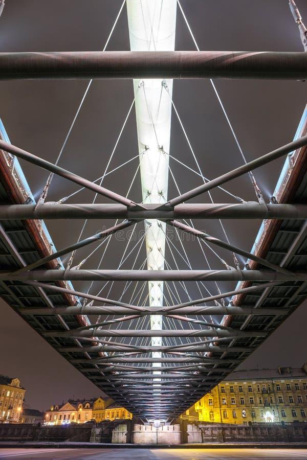 Footbridge Bernatka над Рекой Висла стоковое изображение