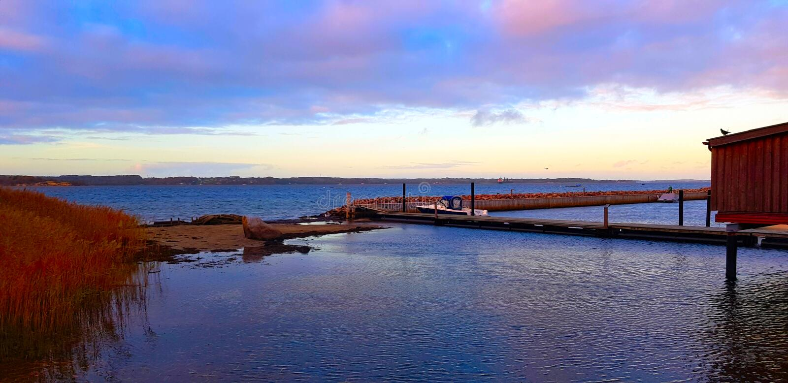 Footbridge with boat stock images
