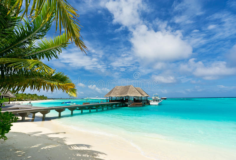 Footbridge connecting the jetty in maldives stock image