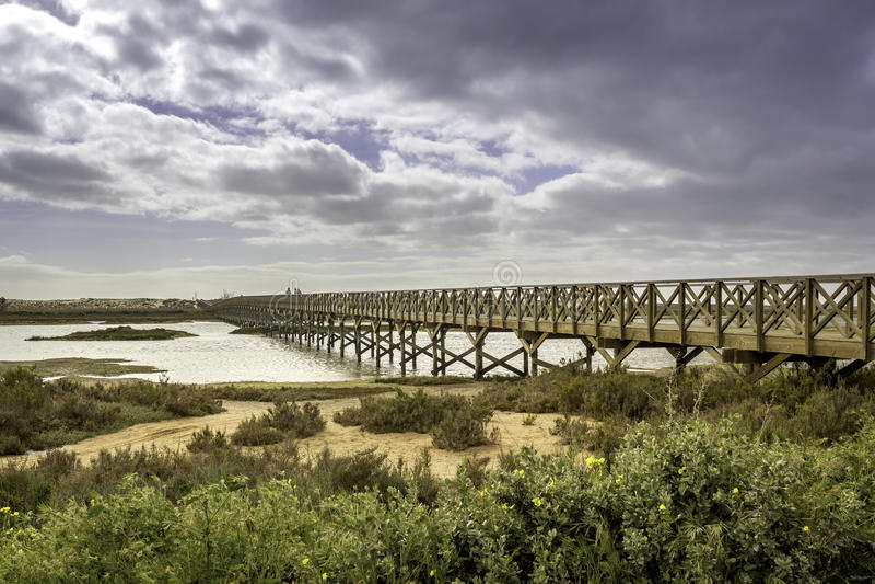 Footbridge heading to Quinta do Lago beach, in Ria Formosa. Algarve. Landmark footbridge heading to famous Quinta do Lago beach, in Ria Formosa wetlands natural royalty free stock photo