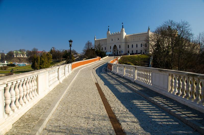 Footbridge leading to Royal castle in the city of Lublin, Poland stock photography