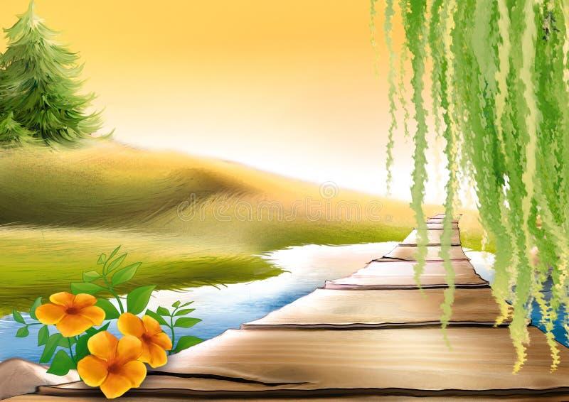 Footbridge & meadow stream royalty free illustration