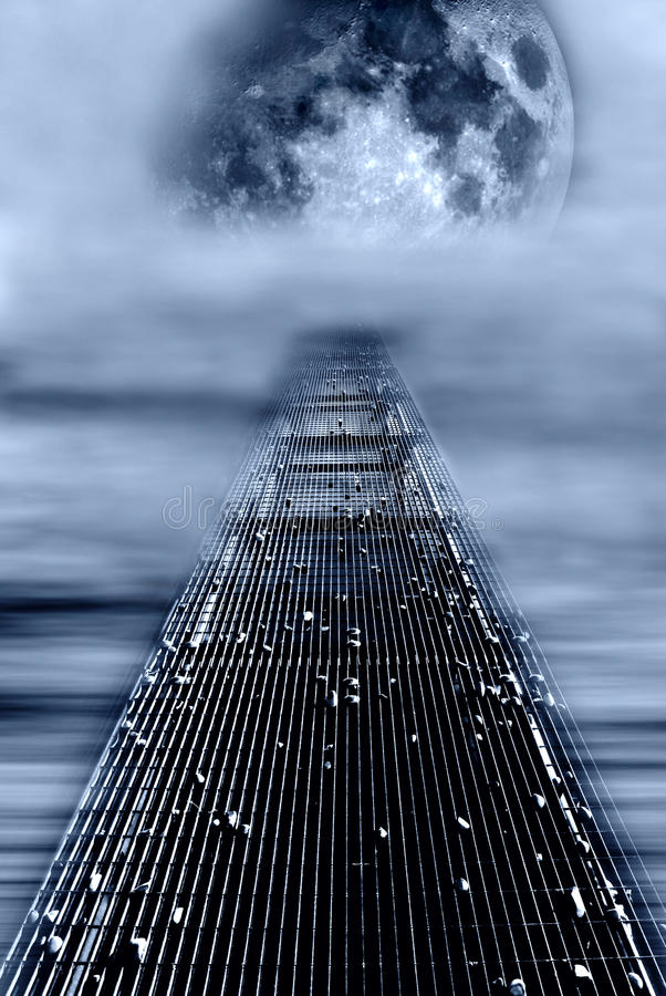 Footbridge for the moon stock image
