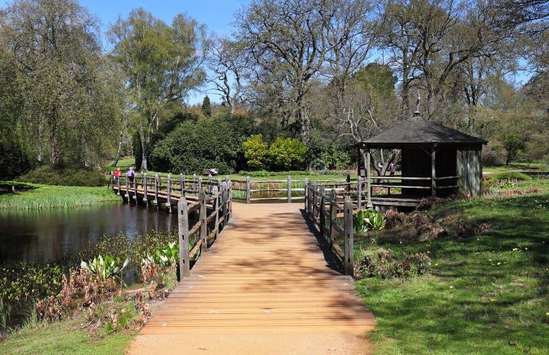 Footbridge nad ogrodowym stawem fotografia stock