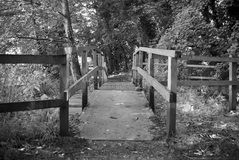 Footbridge nad siklawą zdjęcia stock