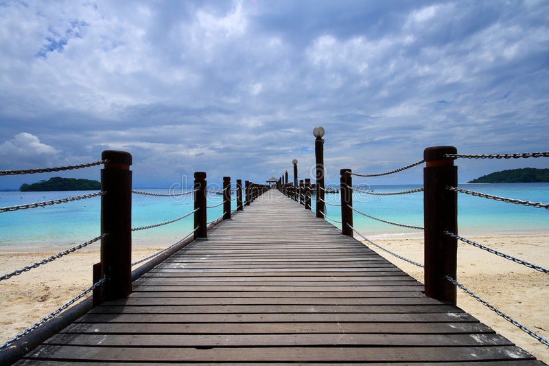 Footbridge and ocean royalty free stock images