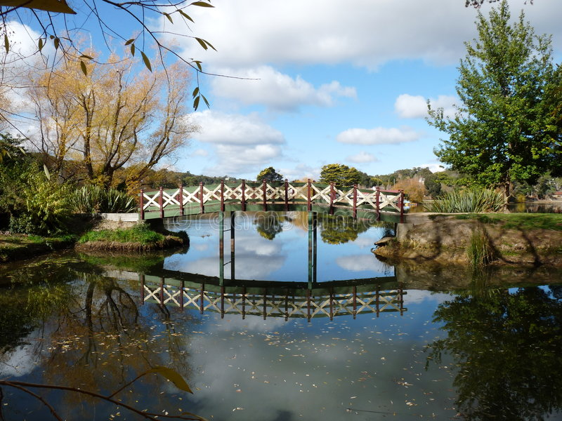 Download Footbridge over the Lake stock image. Image of auutumn - 9338275