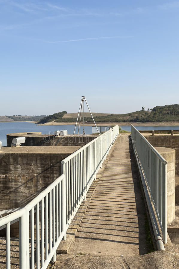 Footbridge Over Spillway Stock Photo