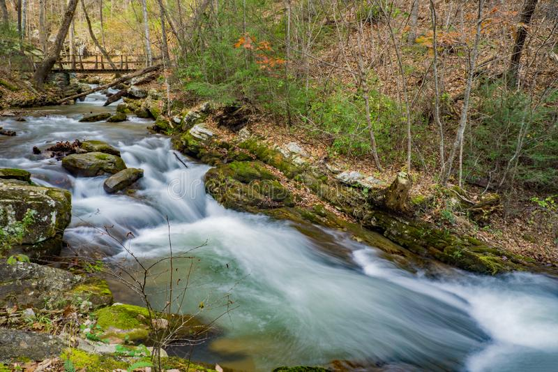 A Footbridge Over a Wild Mountain Trout. Stream located in the Rich Patch Mountains, Jefferson National Forest,Virginia, USA royalty free stock photo