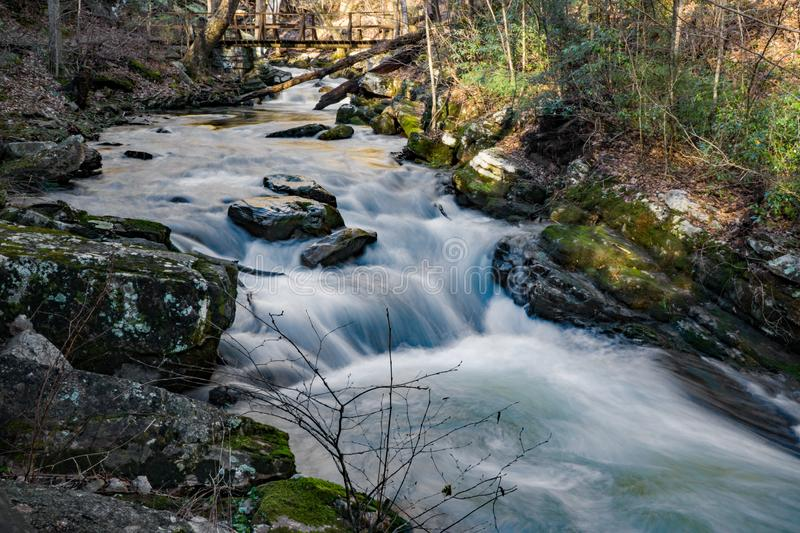 Footbridge Over Wild Mountain Trout Stream. A footbridge a wild mountain trout stream located in the George Washington and Jefferson National Forest, Craig royalty free stock photography