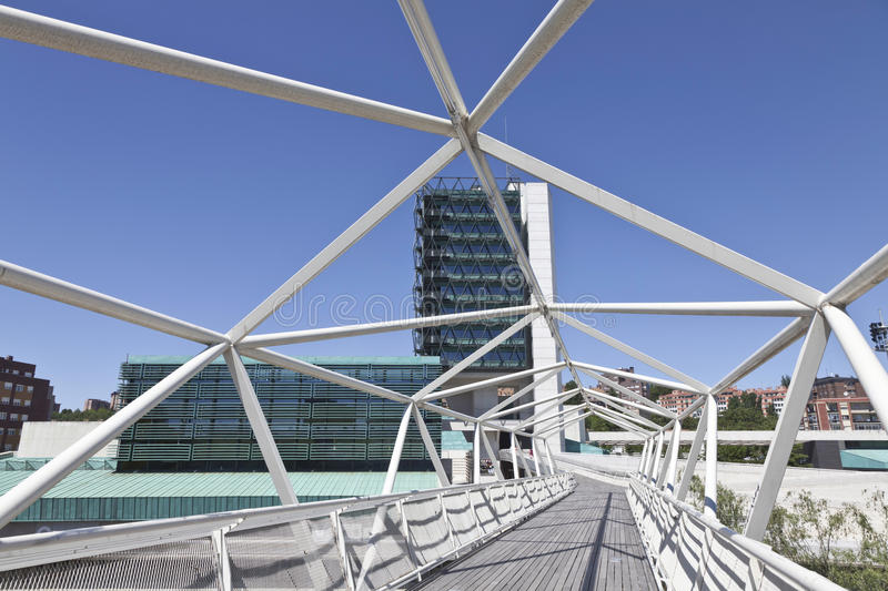 Footbridge to the Museum of Science in Valladolid stock photo