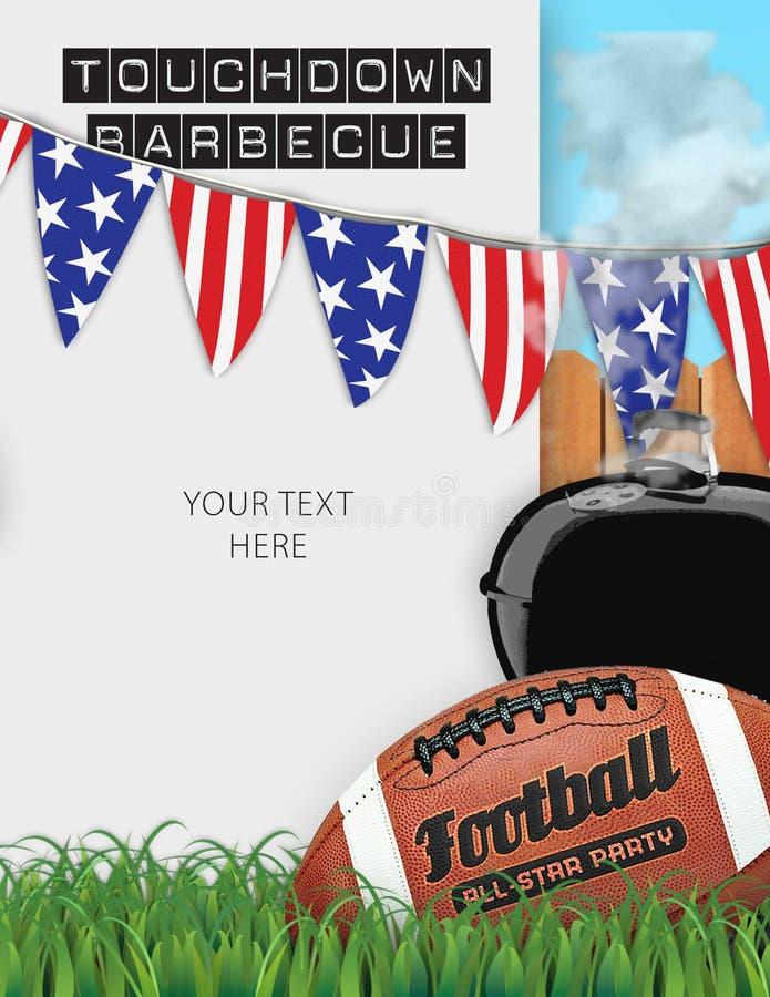 Football BBQ Barbeciue Party Invitation Announcement Flyer. Football BBQ Barbecue Party Invitation Announcement Flyer with grass field and football logo stock photo