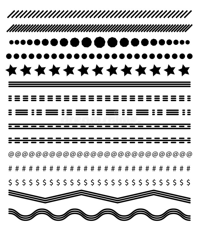 Footer lines set, page dividers design vector royalty free illustration