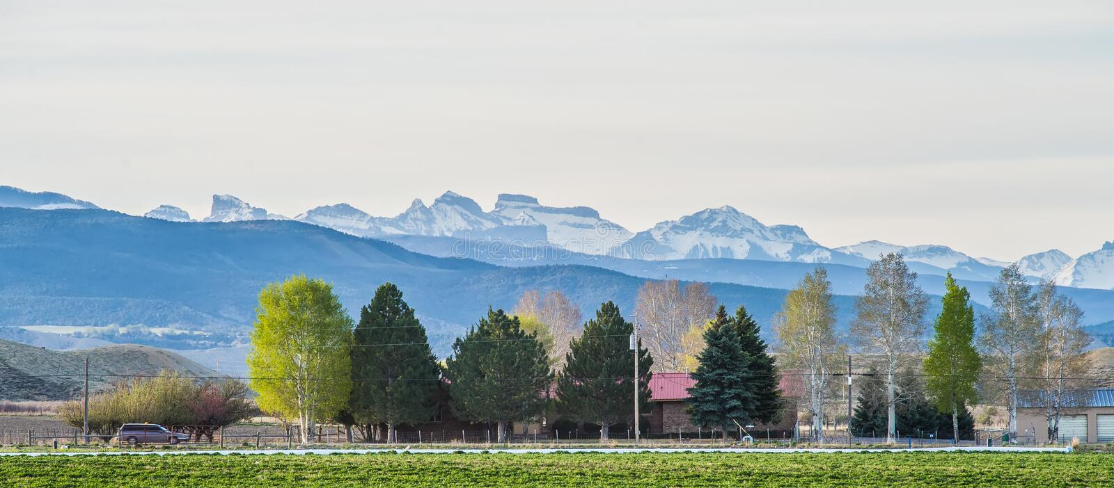 At the foothills of colorado rockies stock images