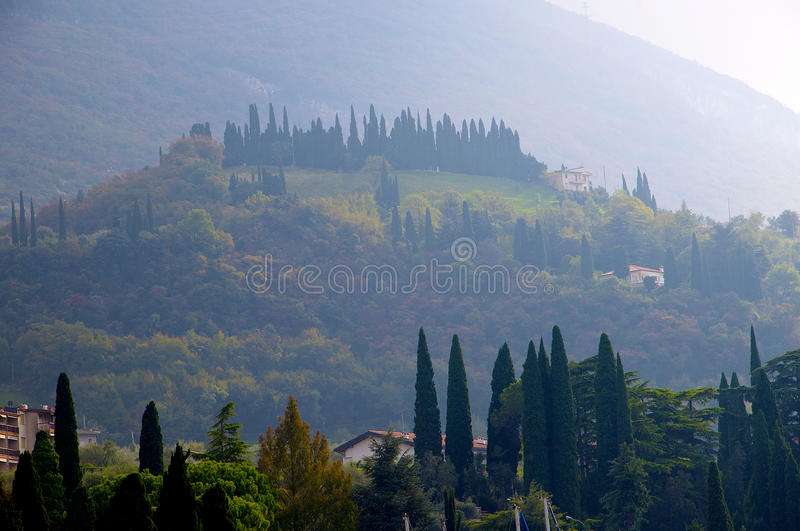 The foothills of Monte Baldo. Above Malcesine on the shores of Lake Garda in Northern Italy stock photography