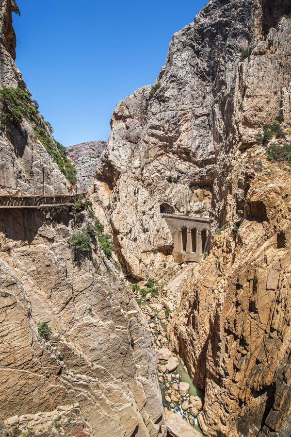 Foothpath van Gr Weinig Weg van Caminito del Rey King, Spanje royalty-vrije stock foto