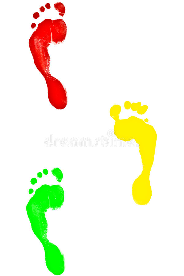 Footmark colorful. Footprints variety of beautiful colors royalty free illustration