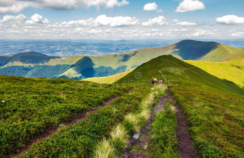 Footpath through Borzhava mountain ridge in summer royalty free stock photos