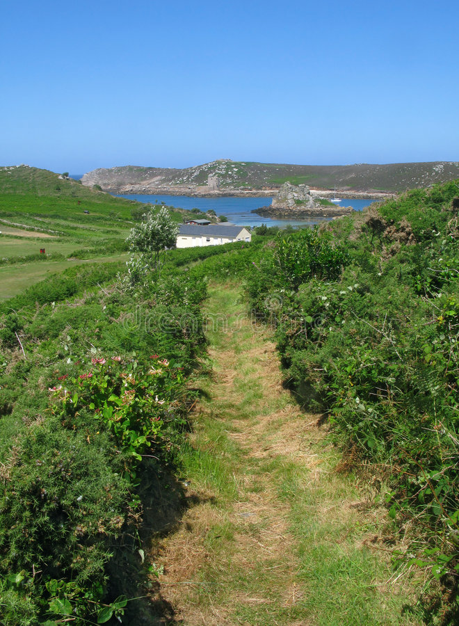 Footpath in Bryher, Isles of Scilly, Cornwall UK