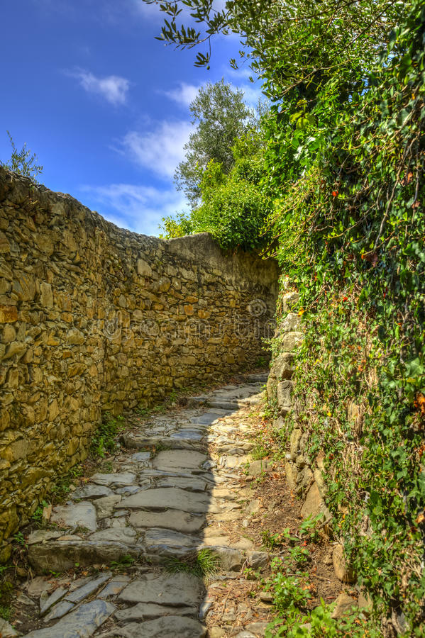 Footpath in Cinque Terre National Park stock photography