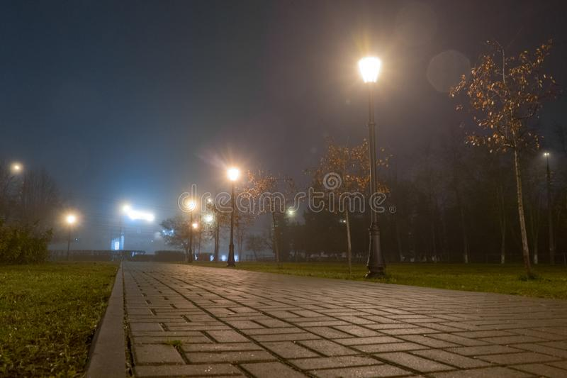 Footpath in city park at night in fog with streetlights. Beautiful foggy evening in the autumn alley with burning lanterns.  royalty free stock photos