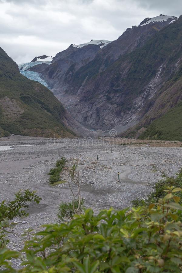 Footpath for closer views of Franz Josef Glacier, New Zealand royalty free stock photo