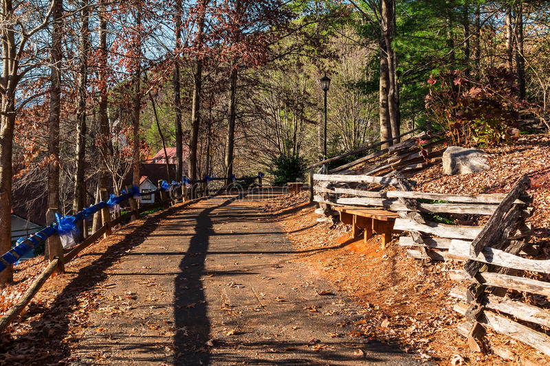 Footpath on hill, Helen, USA. The curved footpath in the park on the hill, Helen, USA royalty free stock photography