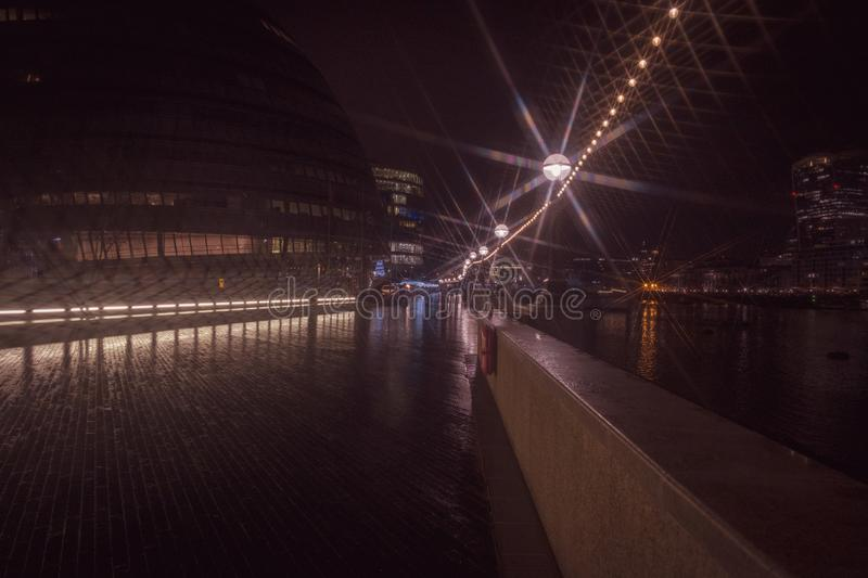 Footpath London. Photography. Night scene stock photo