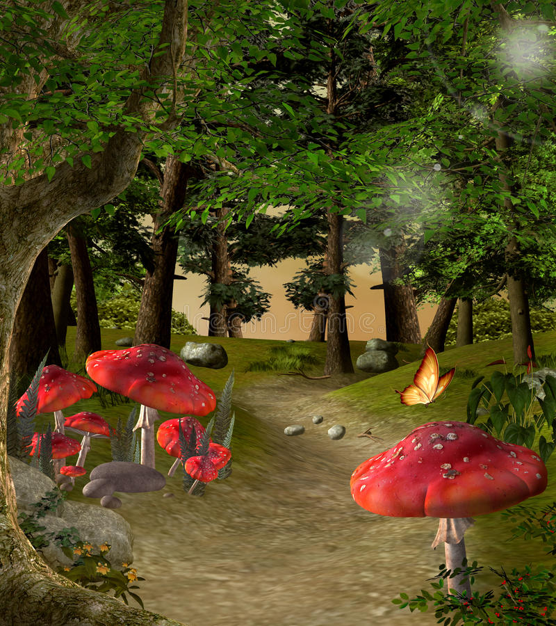 Footpath in the middle of the forest. Enchanted nature series - Footpath in the middle of the forest stock illustration