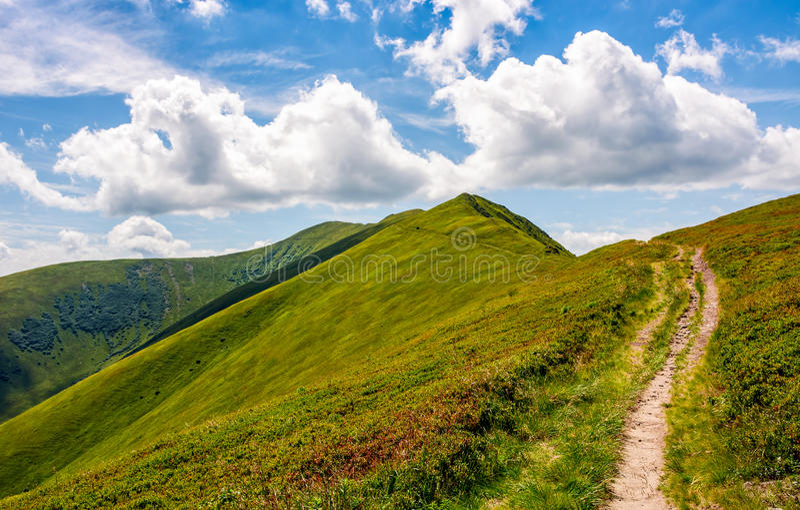Footpath through the mountain ridge royalty free stock photography