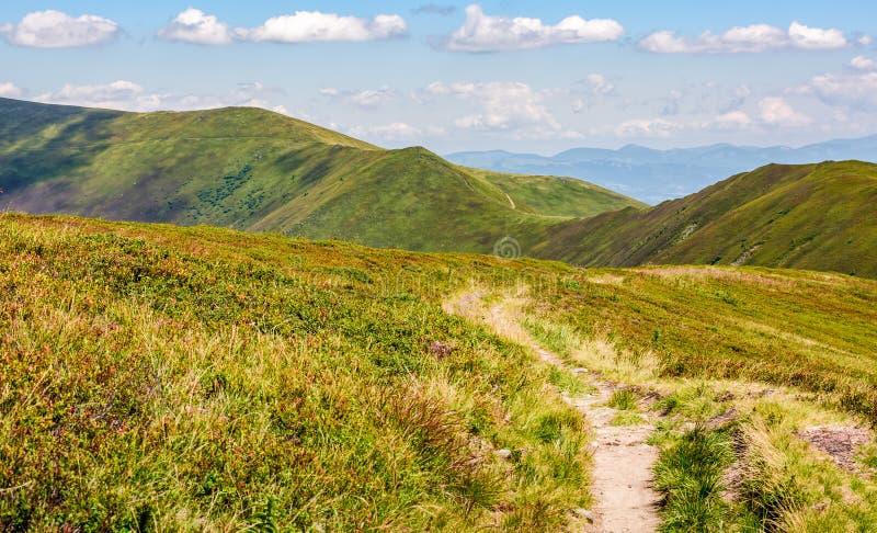 Footpath through the mountain ridge stock image