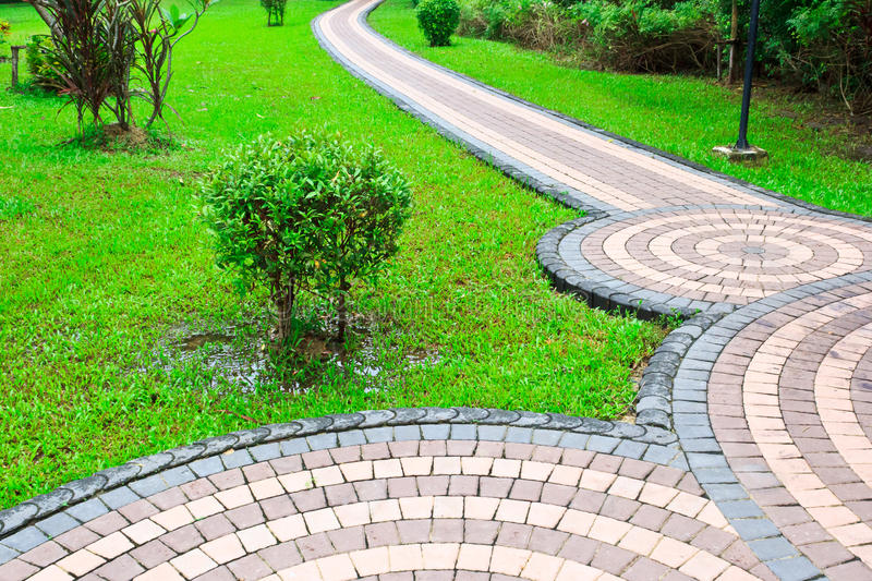 Footpath. Or pedestal with tree and plant in garden stock image
