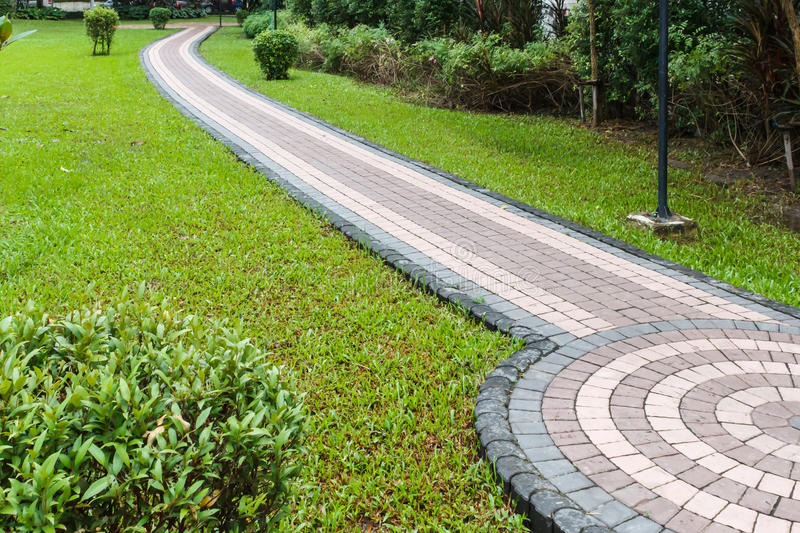 Footpath. Or pedestal with tree and plant in garden stock photo