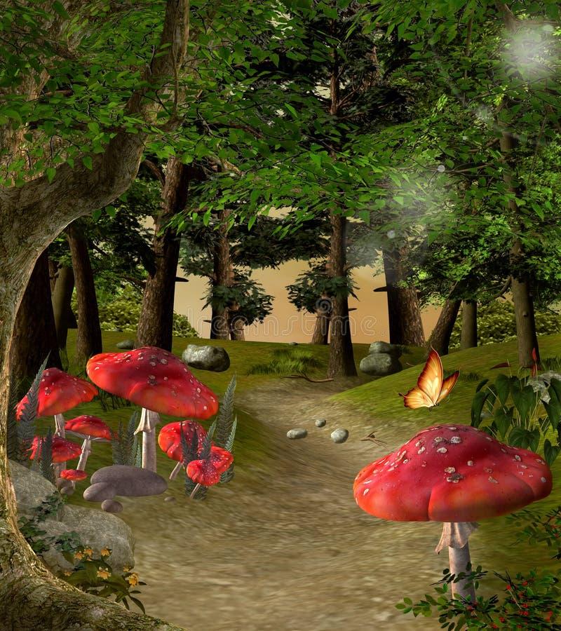 Footpath po środku lasu ilustracji