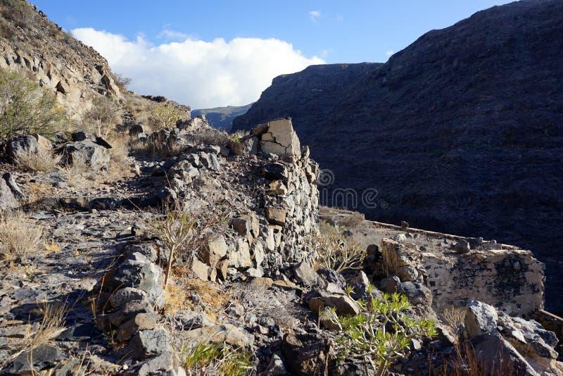 Footpath on the rock. On the coast of La Gomera island, Spain stock images